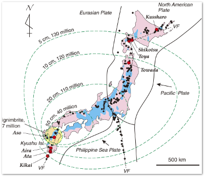 A supereruption at Aira could cover almost all of Japan's major islands.  Source