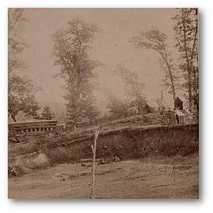 A blockhouse guarding the Nashville and Chattanooga Railroad in 1864.  (Library of Congress)