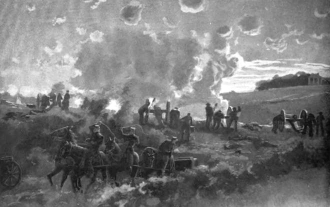 A c. 1907 depiction, now rarely seen, of supporting operations for the final Union assault at Fredericksburg, December 13, 1862.  Battery E, Massachusetts Light Artillery (Phillips') fires just before or during the evening attack of Getty's Division—Getty's infantry evidently hidden by the rise in middleground. The general terrain around the battery appears here with reasonable accuracy, although what's presumably the Marye House, upper right, has been artistically shifted southward along the heights, and sports what is actually its postwar portico. From: Walter F. Beyer and Oscar F. Keydel, eds., Deeds of Valor 1: 108.