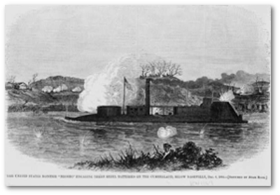 """The United States monitor 'Neosho' engaging three Rebel batteries on the Cumberland, below Nashville, Dec. 6, 1864"" / sketched by Adam Rohe."