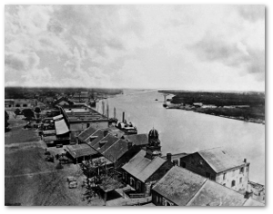 The port of Savannah in 1864, before Sherman's arrival.  (Source)