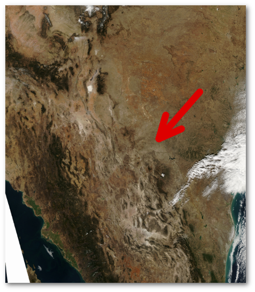 Mexico's Sierra Madre Occidental - the dark brown/green line running from the upper left corner toward the lower right.