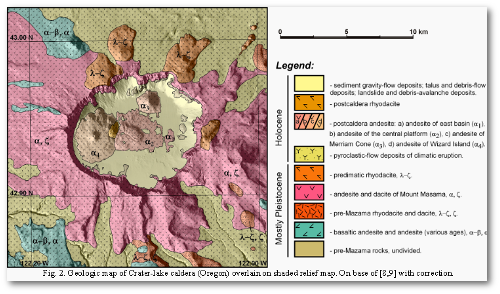Subtract the water, trees, and other covering to see the rocky mess Mount Mazama's eruptions left behind 7,700 years ago.  (Krassilnikov et al.)