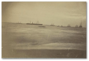 Part of the Fort Fisher expedition fleet in December 1864, during a squall.  (Library of Congress)