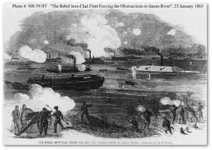"""The Rebel Iron-Clad Fleet Forcing the Obstructions in James River, 23 January 1865.""  (Source)"