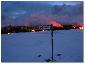 Police officers took this picture on January 17th, according to the University of Island.  By the 18th, the sign was buried in lava.