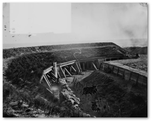 Fort Fisher was huge, and very sturdily built.  This is just one section of the massive structure...after an intense heavy bombardment.  (Library of Congress)