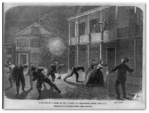 Bursting of a shell in the streets of Charleston, South Carolina [1864]  (Sketched by an English artist)  (Library of Congress)