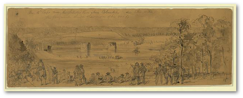 The 15th Corps crossing the Saluda River above Columbia.  A. W. Waud (Library of Congress)