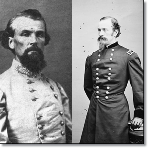 General Nathan Bedford Forrest, CSA (left).  General James H. Wilson, USA (right).