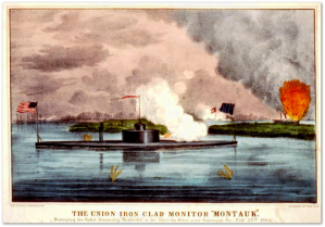 "Currier & Ives view of the action the ""USS Montauk"" was in later in February 1865.  (Source)"