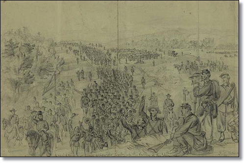 """Sheridans army following Early up the Valley of the Shenandoah.""  A. R. Waud (Library of Congress)"