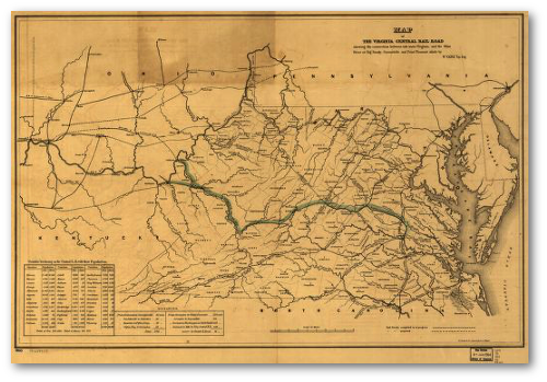 The Virginia Central Railroad was still under construction when the Civil War erupted, but the builders had passed the hurdle of the Blue Ridge Mountains and pushed the line westward beyond Staunton.  (Library of Congress via Railroads of Virginia)