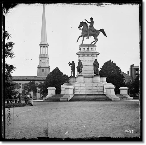 Washington Monument, Richmond, Virginia, during the Civil War; St. Paul's Church in left background (Source 30)