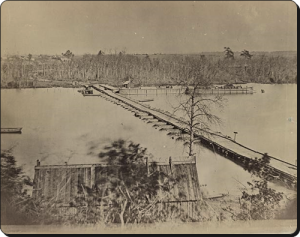 Pontoon bridge at Broadway Landing, Appomattox River.  (Library of Congress)