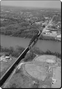 That's Main Street, Northport, in the upper right and Tuscaloosa in the foreground.  A man died this week, 150 years ago, defending the bridge that used to be where that railroad now crosses.  (Library of Congress)