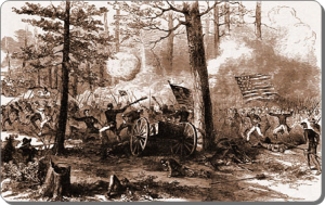 Frank Leslie's version of Mower's Union troops attacking the Confederate left flank at Bentonville, March 21, 1865.  (Source)
