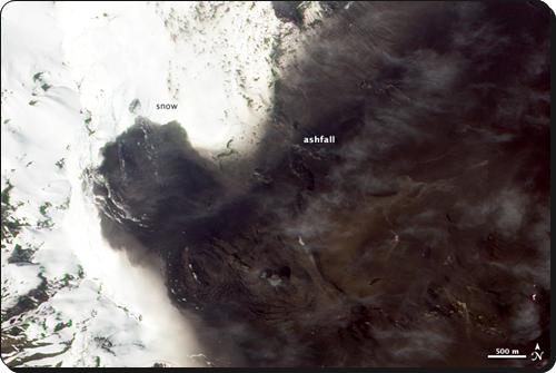 Ash from Cerro Hudson's 1991 eruption.  (NASA)
