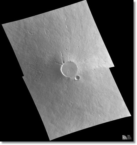 Mars has an atmosphere, though it's much thinner than Earth's.  That collapse must have been heard many miles away.  NASA
