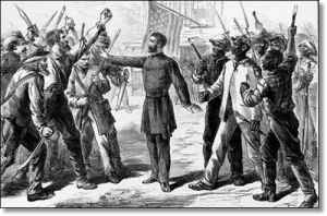 How A. R. Waud saw the Freedmen's Bureau in 1868.  (Library of Congress)