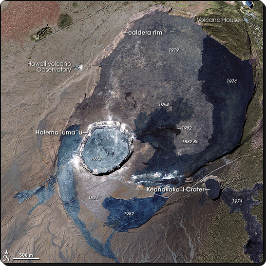 Kilauea caldera.  NASA Earth Observatory