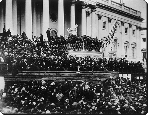 US President Lincoln, being sworn in to a second term.  (Library of Congress)