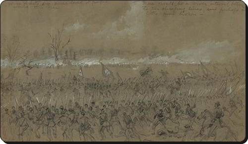 """""""Last stand of Picketts men. Battle of Five Forks""""  A. R. Waud, Library of Congress"""