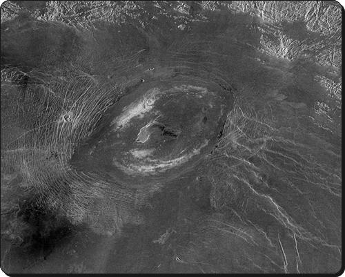 Paterae like Sacajawea on Venus look weird...but see the caldera?  NASA via Wikipedia