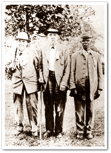 Three former Confederate soldiers after the war.  Don't tell me that man on the right wouldn't have fought for the South, if it had come to that.  (Source)