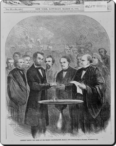 Chief Justice Chase administering the oath of office to President Lincoln for his second term in March 1865.  (Library of Congress)