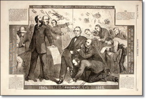 """Democracy 1865- President Andrew Johnson"" was one of Thomas Nast's first political cartoons.  (Source)"