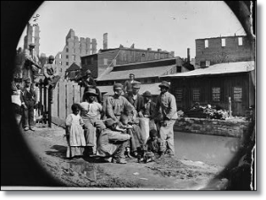 A group of freedmen and children near a canal in Richmond, Virginia, April 1865.  (Library of Congress)