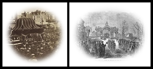 Photo of Lincoln's funeral in Philadelphia (left) and sketch of his funeral in Chicago (right).  (Library of Congress)