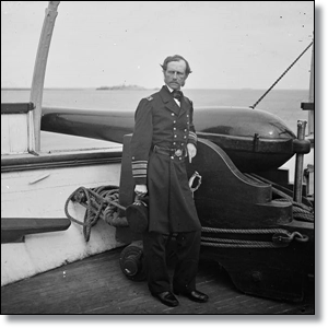 Admiral Dahlgren standing by one of his guns during the war.  (Library of Congress)