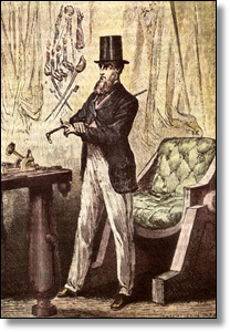 """Illustrator Henri de Montaut saw President Barbicane as """"Oncle Sam élégant."""""""