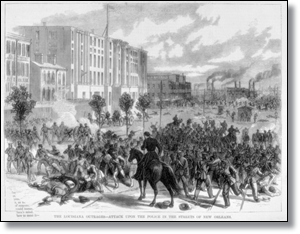 Seriously, coup d'etat stuff.  Here, in 1874, the White League takes on the New Orleans police.  (Source)