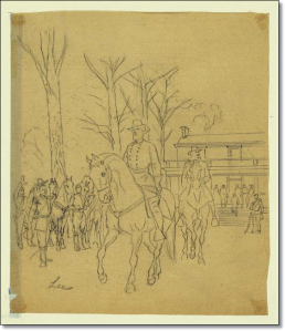Robert E. Lee leaving the McLean House following his surrender to Ulysses S. Grant.  (A. R. Waud, Library of Congress)