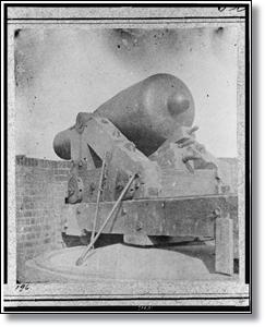 "A Rodman smooth bore gun, nicknamed ""Jeff Davis, Port Royal, South Carolina, in 1861."