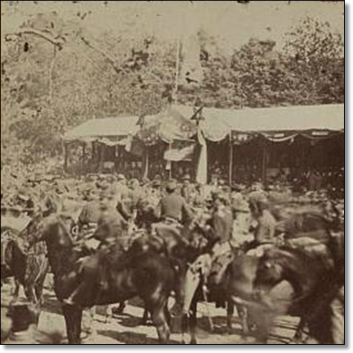 It's not clear if this is the Army of the Potomac or Sherman's army.  That's the presidential reviewing stand in the background.  (Library of Congress)