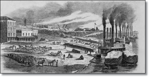 """""""The levee at Memphis, Tenn.-Hauling sugar and cotton from their hiding-places for shipment north"""" in 1862.  (Library of Congress)"""