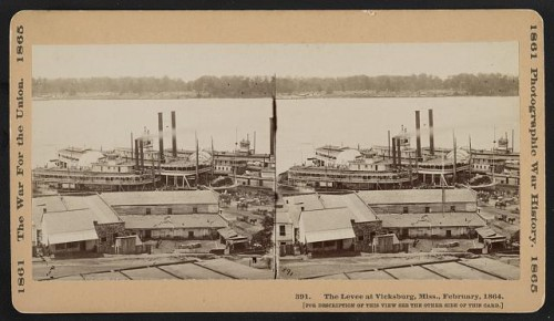 Steamboats cluster at Vicksburg wharves in February 1864.