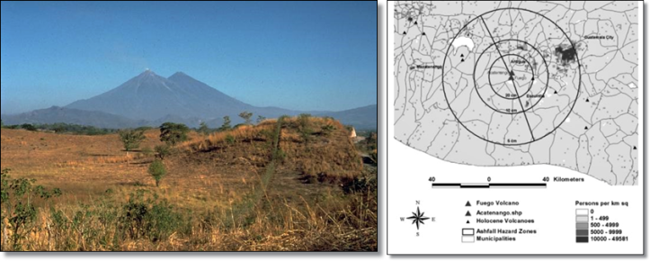 Left:  Debris avalanche remnants at modern Acatenango.  (Smithsonian)  On the right is the ashfall map for a major eruption at Fuego-Acatenango - note Guatemala City and Antigua are both at risk.  (USGS)