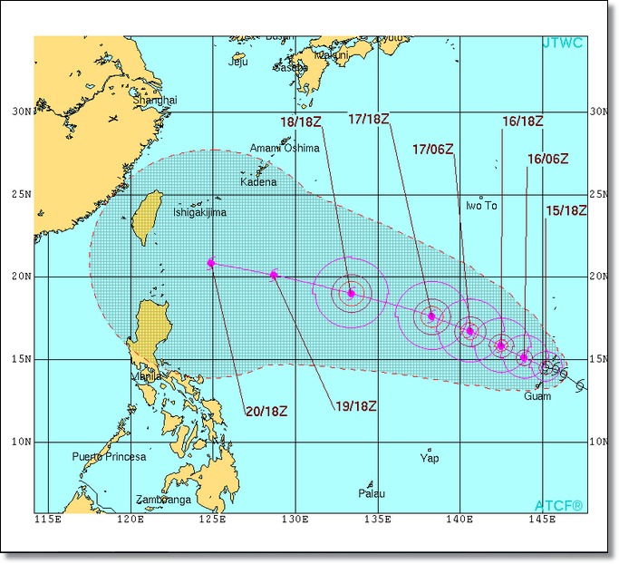Joint Typhoon Warning Center's graphic forecast for Goni at the time of writing this post.