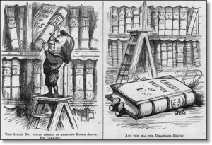 "Thomas Nast, at ""Harper's Weekly,"" wasn't amused:  ""This little boy would persist in handling books above his capacity...and this was the disastrous result."""