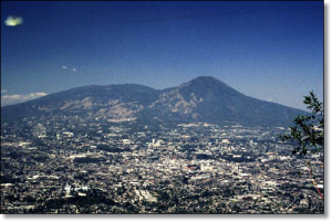 The national capital of El Salvador stretches up onto the flanks of active San Salvador Volcano.  (Image:  Rick Wunderman, Smithsonian Institution)