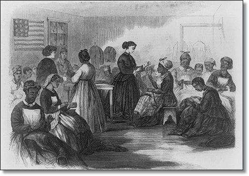 """Glimpses at the Freedmen - The Freedmen's Union Industrial School, Richmond, Va."" (Library of Congress)"